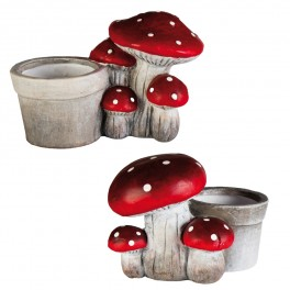 4x POT CHAMPIGNON ROUGE POIS BLANC 2ASS N°2