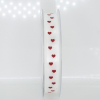 2x RUBAN BLANC PETIT COEUR  RELIEF ROUGE 12MMX25MT