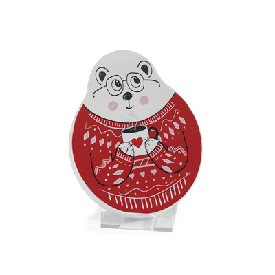 12x BOITE OURS GILET ROUGE 18X14H3CM